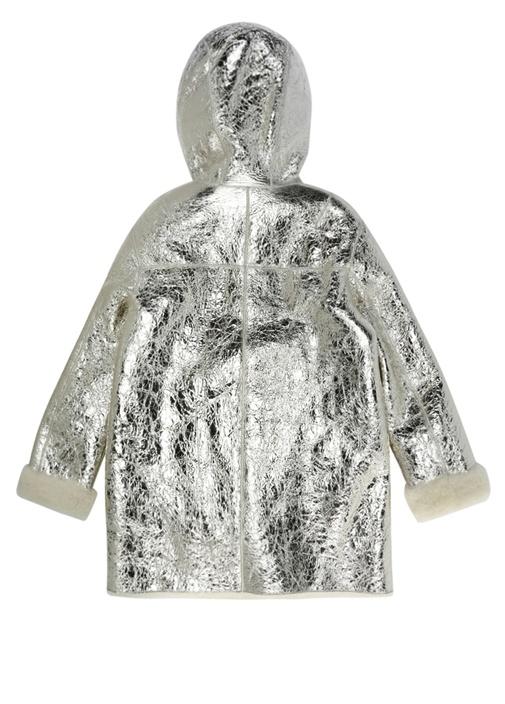 Silver Çatlak Dokulu Kapüşonlu Kız Çocuk Deri Mont