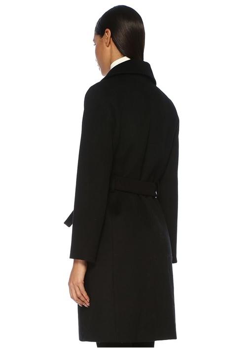 Siyah Kelebek Yaka Kuşaklı Yün Palto