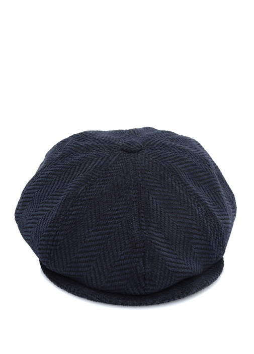 Lacivert Kazayağı Desenli Erkek Şapka