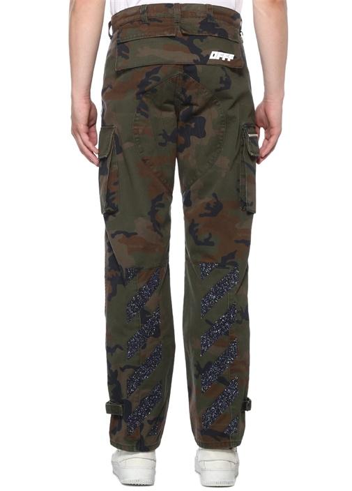 Haki Yüksek Bel Kamuflaj Desenli Bol Paça Pantolon