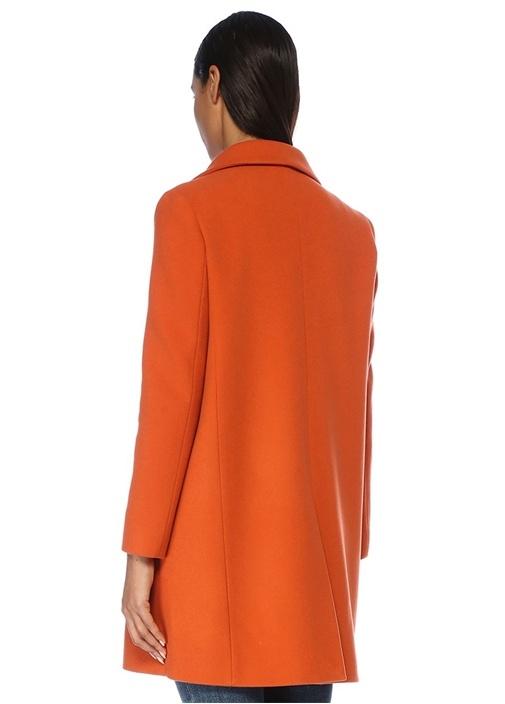 Turuncu Kırlangıç Yaka Kruvaze Yün Palto