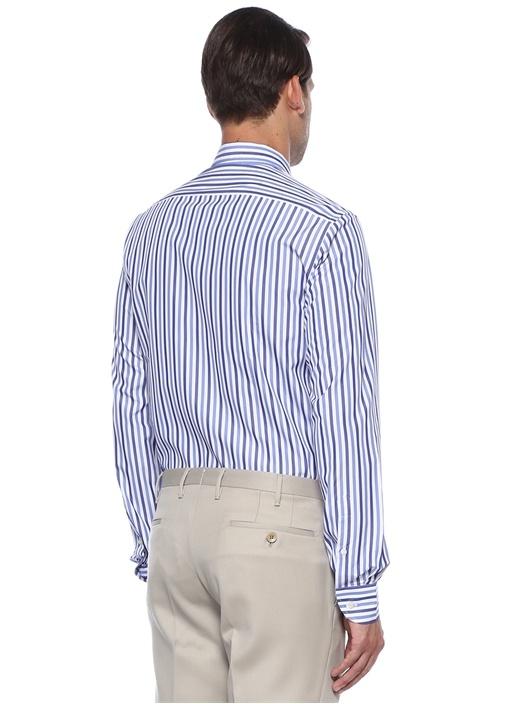 Mavi Beyaz Düğmeli Yaka Çizgili Gömlek