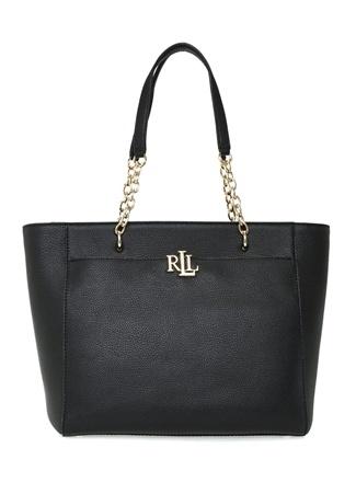 Lauren Ralph Kadın Siyah Gold Logolu Deri Alışveriş Çantası EU