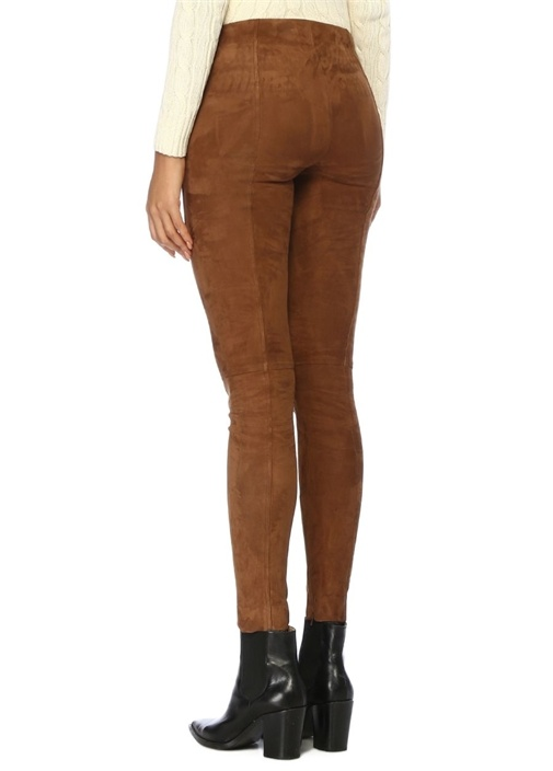 Skinny Fit Kahverengi Süet Pantolon