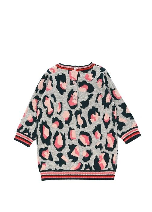 Gri Leoparlı Logolu Kız Bebek Elbise