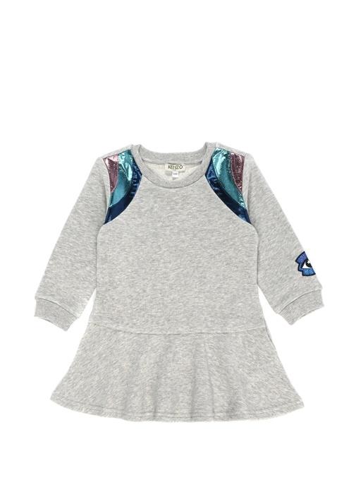Gri Omuzu Metalik Şeritli Kız Çocuk Elbise