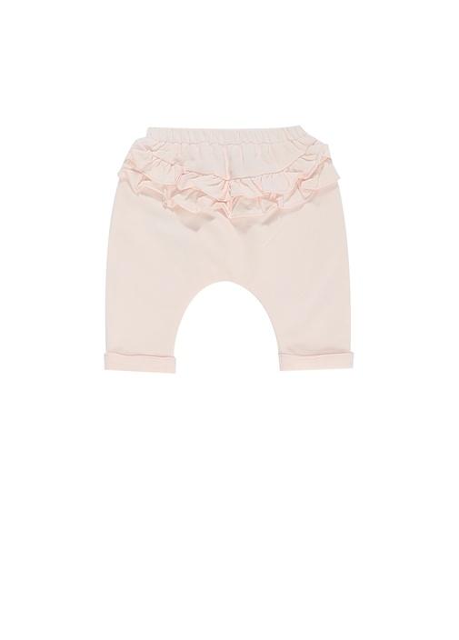 Pembe İşlemeli Kız Bebek Organik Pamuklu Pantolon