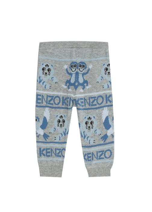 Gri Mavi Jakarlı Erkek Bebek Triko Pantolon