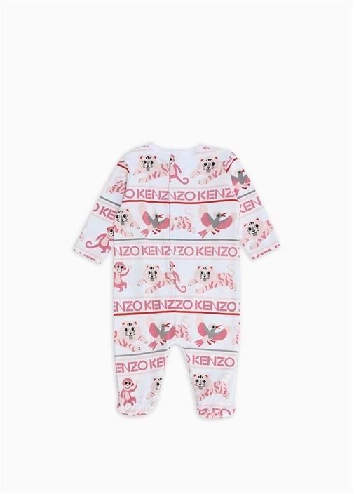 Beyaz Pembe Baskılı Kız Bebek Organik Pamuklu Set