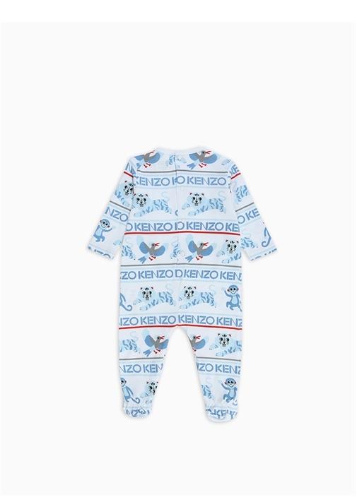 Beyaz Mavi Baskılı Erkek Bebek Organik Pamuklu Set