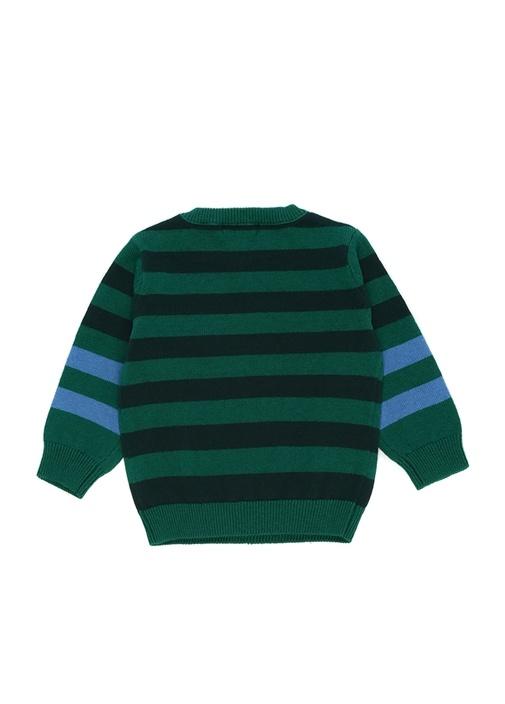Yeşil Şeritli Kabartmalı Logolu Erkek Bebek Triko