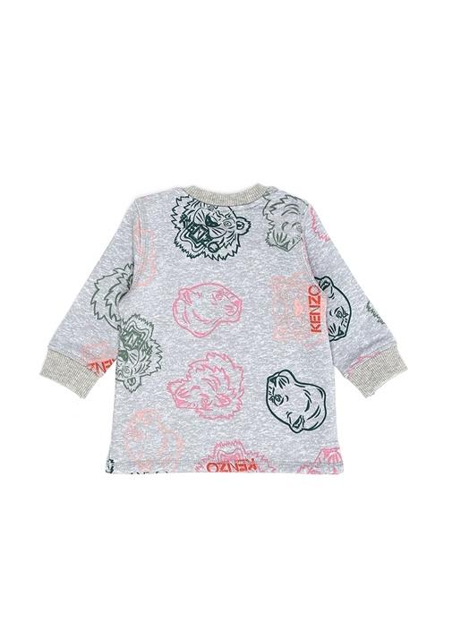 Gri Karışık Baskılı Kız Bebek Sweatshirt