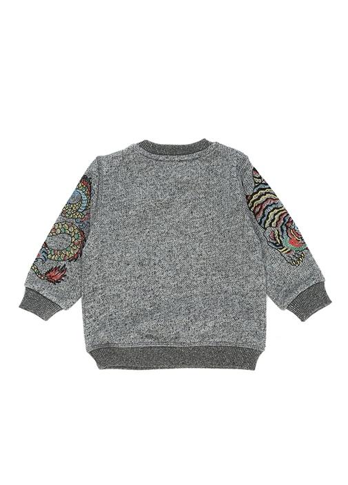 Gri Logo Baskılı Erkek Bebek Sweatshirt