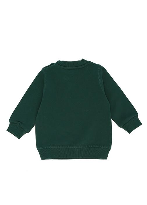 Haki Kaplan Nakışlı Erkek Bebek Sweatshirt