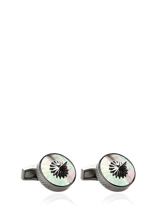 Silver Pusula Formlu Gümüş Kol Düğmesi