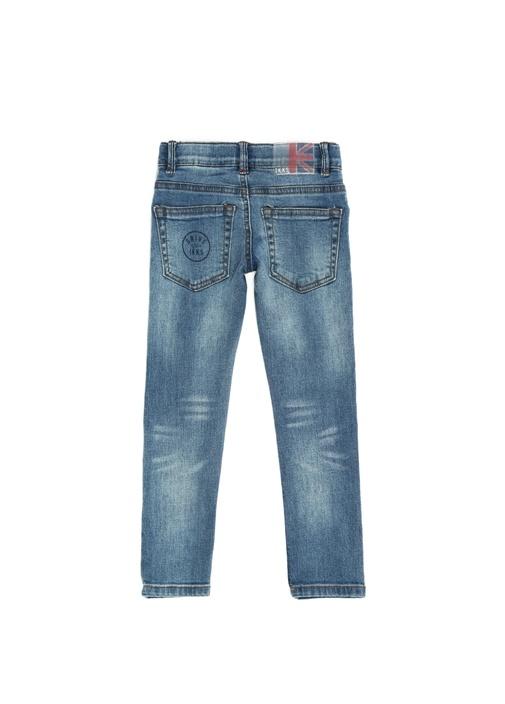 Skinny Fit Mavi Patchli Erkek Çocuk Jean Pantolon