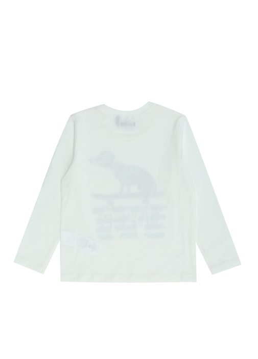 Beyaz Baskılı Erkek Çocuk T-shirt
