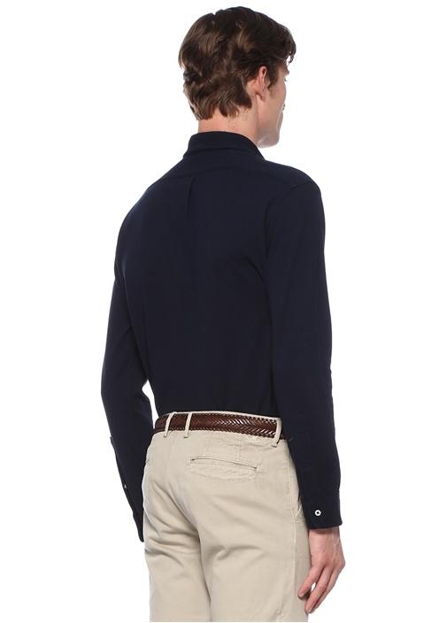 Lacivert Düğmeli Yaka Logolu Gömlek