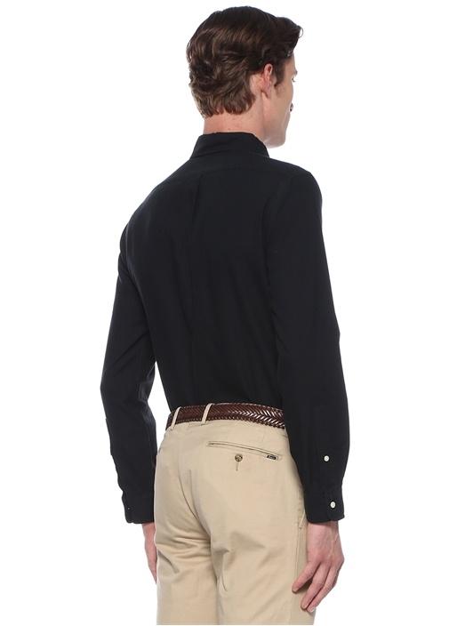 Slim Fit Siyah Düğmeli Yaka Logolu Gömlek