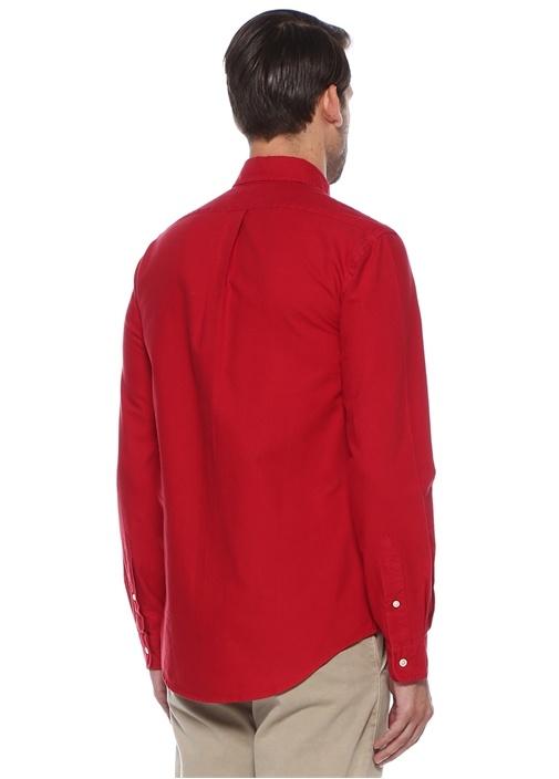 Slim Fit Kırmızı Düğmeli Yaka Gömlek