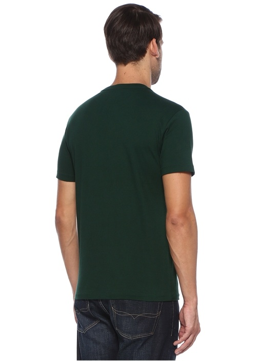 Custom Slim Fit Yeşil Basic T-shirt