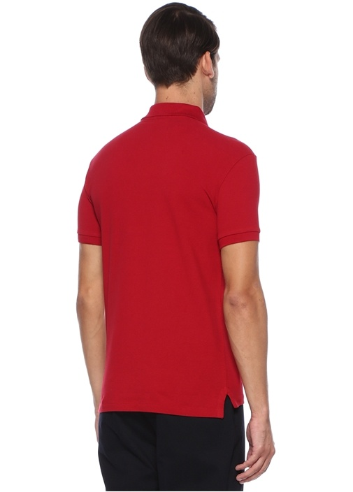 Slim Fit Kırmızı Polo Yaka Dokulu T-shirt