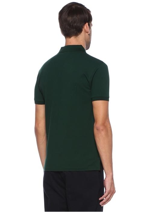 Slim Fit Yeşil Polo Yaka Dokulu T-shirt