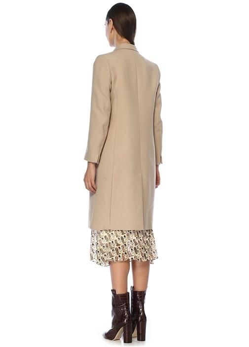 Bej Kırlangıç Yaka Kruvaze Yün Palto