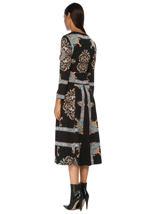 Siyah Desenli Uzun Kol Midi Elbise