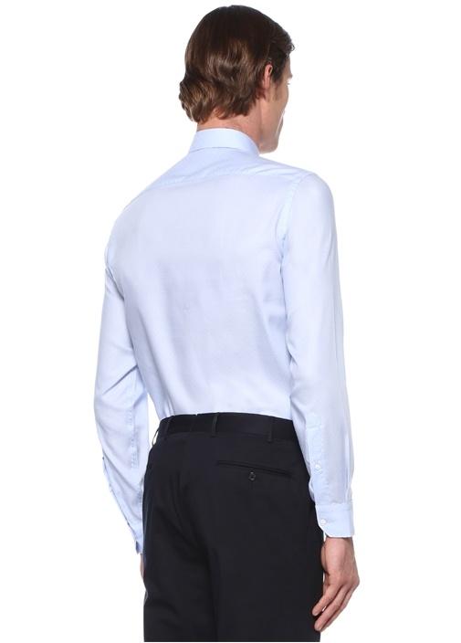 Comfort Fit Mavi Klasik Yaka PuantiyeliGömlek