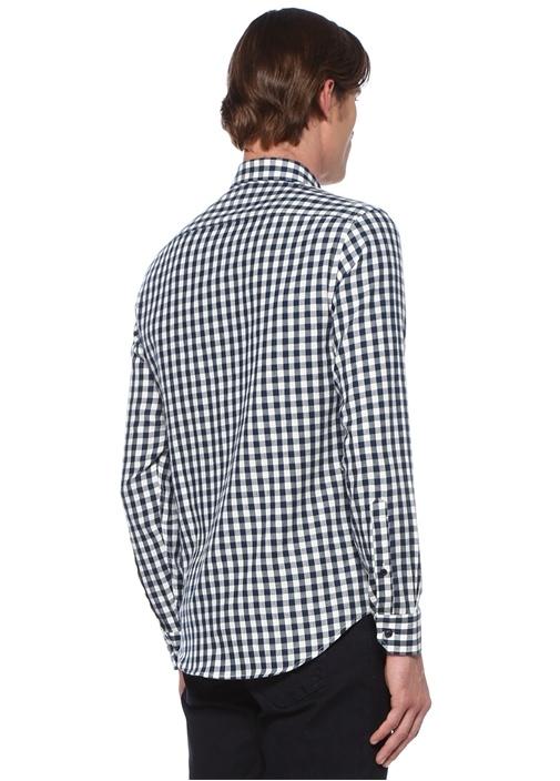 Comfort Fit Düğmeli Yaka Pötikare Desenli Gömlek