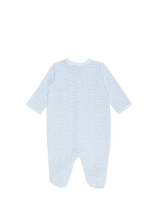 Beyaz Mavi 3lü Desenli Erkek Bebek Hediye Seti