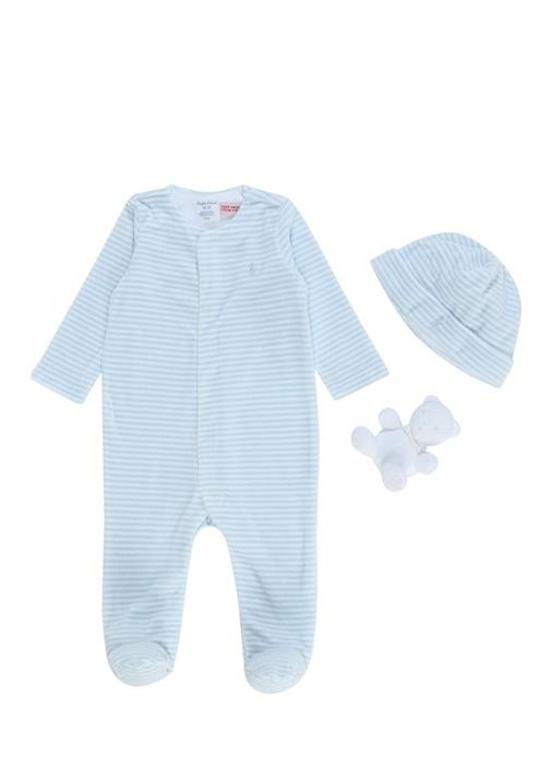 Beyaz Mavi 3lü Çizgili Erkek Bebek Hediye Seti