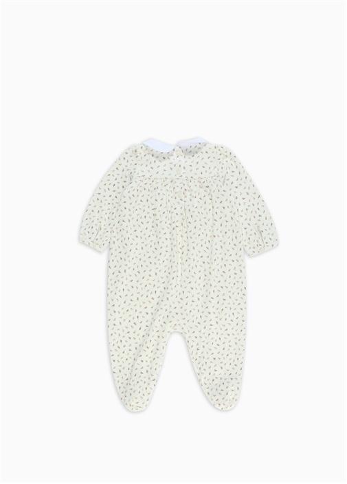 Beyaz Bebe Yaka Çiçekli Kız Bebek Tulum
