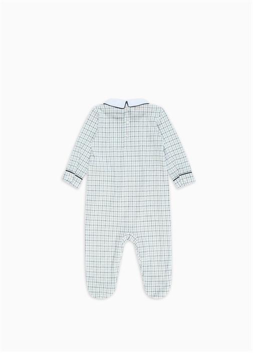 Beyaz Lacivert Pötikareli Erkek Bebek Tulum