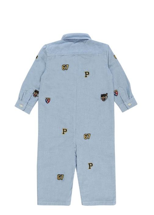Mavi İngiliz Yaka Nakışlı Erkek Bebek Tulum
