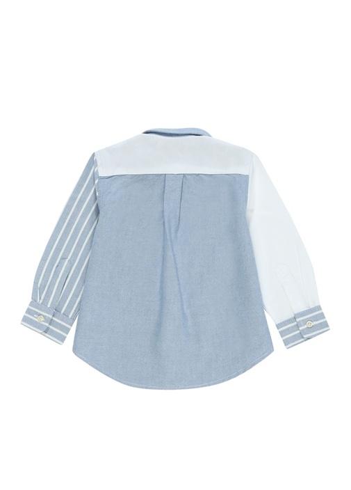 Mavi Beyaz Çizgili Düğmeli Yaka Erkek Bebek Gömlek