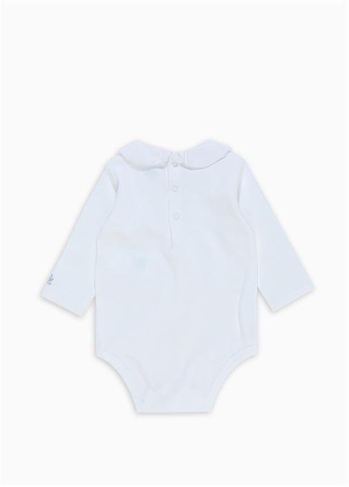 Beyaz Nakışlı Erkek Bebek Tulum
