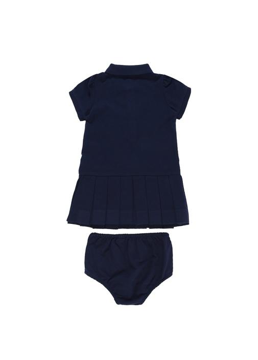 Lacivert Külotlu Pike Dokulu Kız Bebek Elbise Seti
