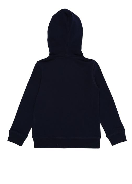 Lacivert Kapüşonlu Logolu Kız Çocuk Sweatshirt