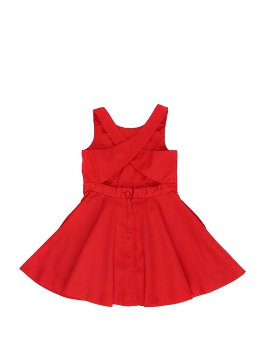 Kırmızı Sırt Detaylı Kız Çocuk Elbise