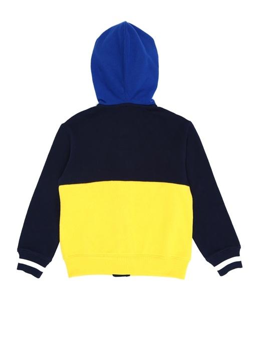Sarı Kapüşonlu Logo Nakışlı Erkek ÇocukSweatshirt