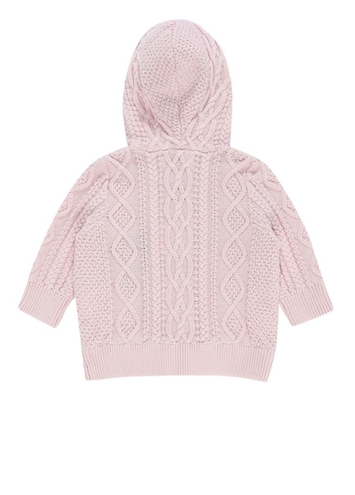 Pembe Kapüşonlu Örgü Dokulu Kız Bebek Sweatshirt