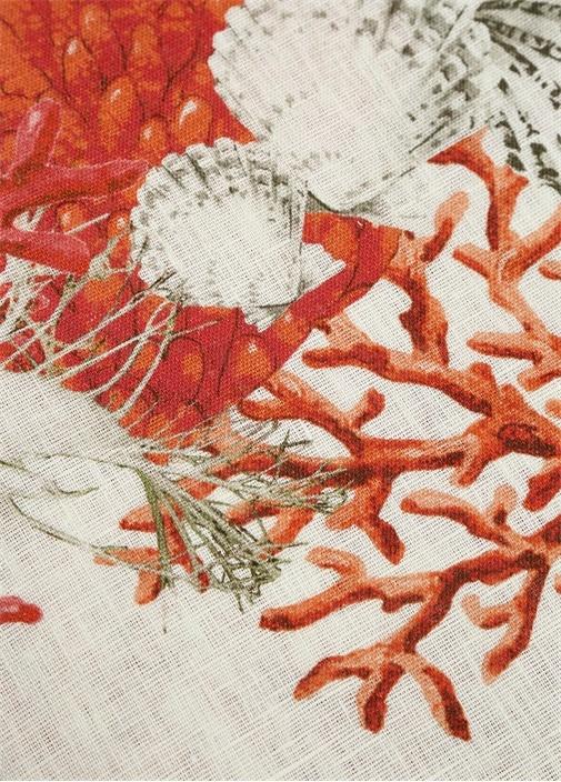 Coralli Ekru Kırmızı Desenli Keten MasaÖrtüsü