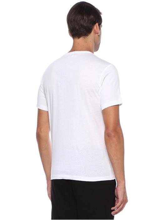 Beyaz Logo Baskılı Payetli Basic T-shirt