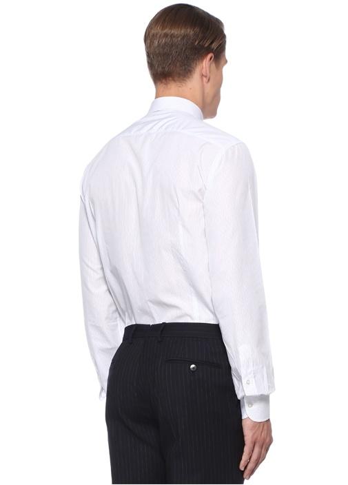 Beyaz Gri İngiliz Yaka Çizgili Gömlek