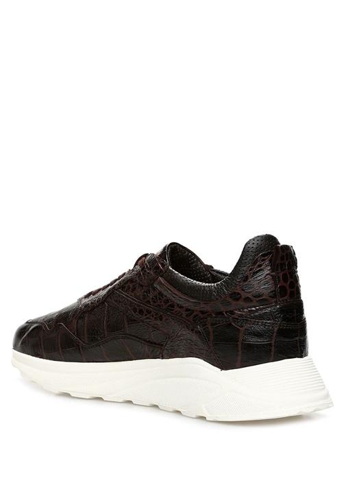 Kahverengi Krokodil Dokulu Erkek Deri Sneaker