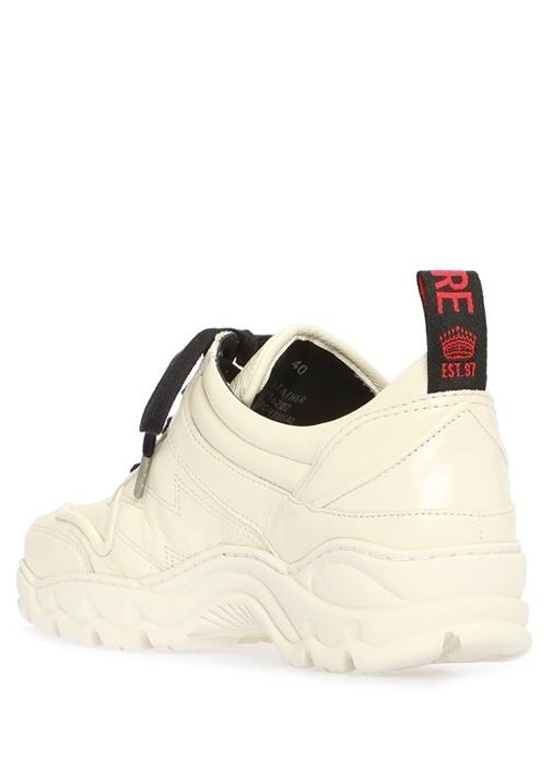 Beyaz Dikiş Detaylı Kadın Deri Sneaker