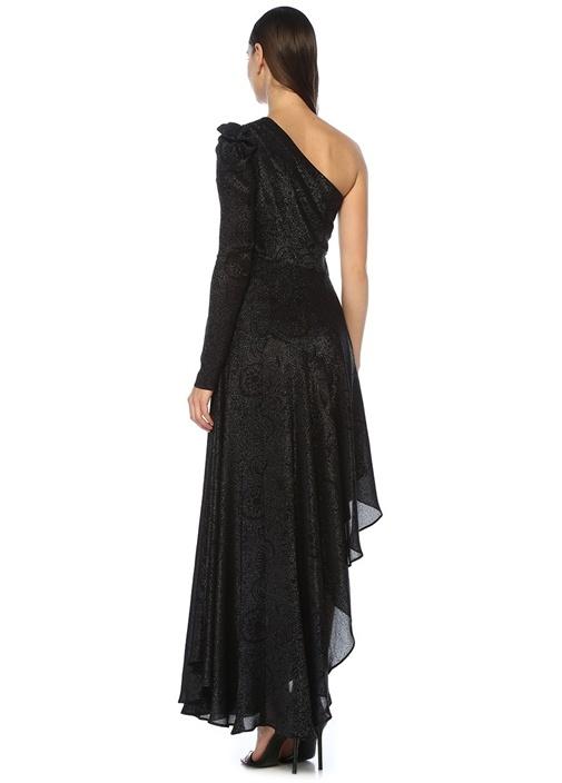 Esmeralda Siyah Asimetrik Maksi Abiye Elbise