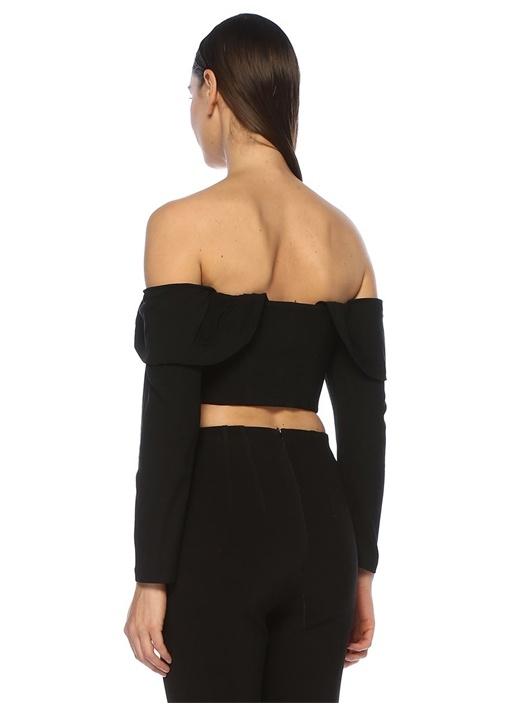 Rhea Siyah Düşük Omuzlu Uzun Kol Crop Bluz